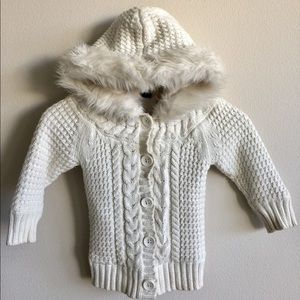 Baby GAP White Cable Knit Fur Trim Hood Sweater
